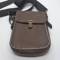 Kleine Handtasche Mini Umhängetasche Schultertasche Leder braun Bild 5