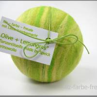 Filzseife 200g Olive+Lemongras, Seife umfilzt, Seife eingefilzt,  Pflanzenölseife, Geschenk, Muttertag, Speick Bild 1