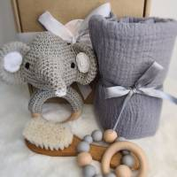"Geschenk Set zur Geburt ""Elefant Kaori"", Baby Party Geschenkebox, Geschenkebox für Baby, Geschenk zur Taufe Bild 1"