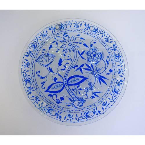 Vintage Glasplatte, Servierteller, China blau, Glas mit blauem Dekor, Glaswerk Olbernau, DDR