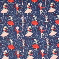 Cord Feincord Baumwolle Ballerina Tiere blau (1m/10,-€) Bild 3