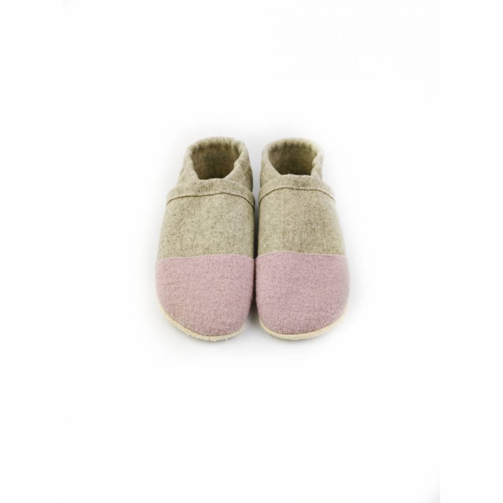 Hausschuhe aus 100% Wollfilz, rosafarbener Kappe mit Ledersohle  Bild 1