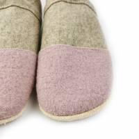 Hausschuhe aus 100% Wollfilz, rosafarbener Kappe mit Ledersohle  Bild 2