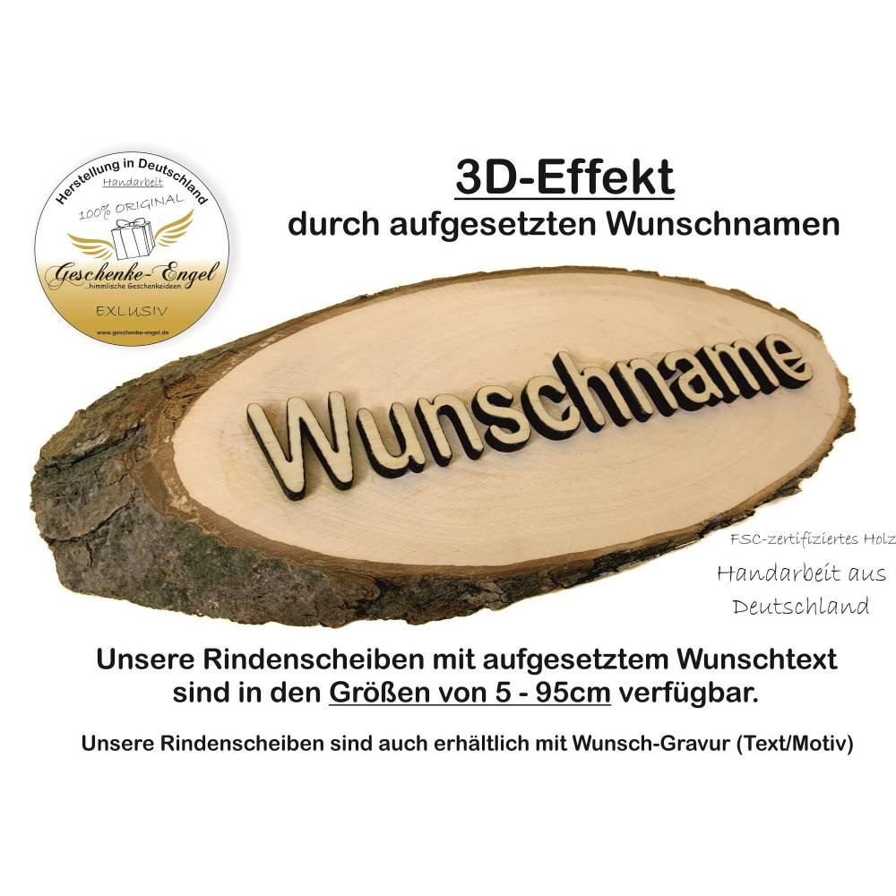Rindenscheibe mit aufgesetzter Schrift / Rindenbrett / Baumscheibe / Türschild - handarbeit Bild 1