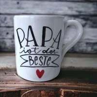 Tasse, Papa ist der beste, Kaffee, 350ml, Keramik handbemalt Bild 1