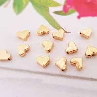 10x Herz Perle Fb. gold Metallperlen für Armbänder Spacer Zwischenperlen goldfarben Schmuckperlen klein golden Herzen Bild 1