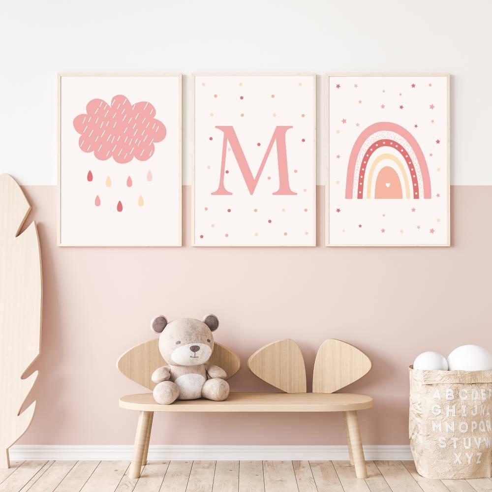 3 Poster Bilder für Kinderzimmer REGENBOGEN WOLKEN, Kinderzimmer Deko, Tier-Print, Wanddeko Kinderzimmer, jungszimmer Bild 1