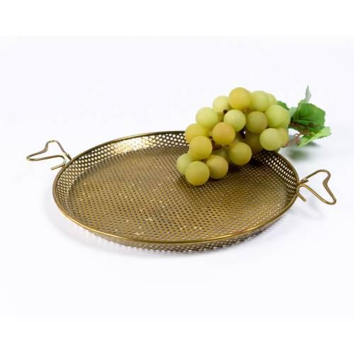 Kleiner Korb oder Platte aus Metall, gestanztes Messingblech, Vintage Dekoration, Mid-Century, flache Schale