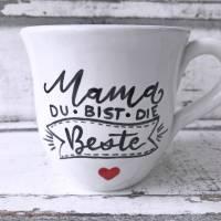Tasse, Mama du bist die Beste, 250ml, Keramik, handbemalt Bild 1