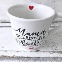 Tasse, Mama du bist die Beste, 250ml, Keramik, handbemalt Bild 2