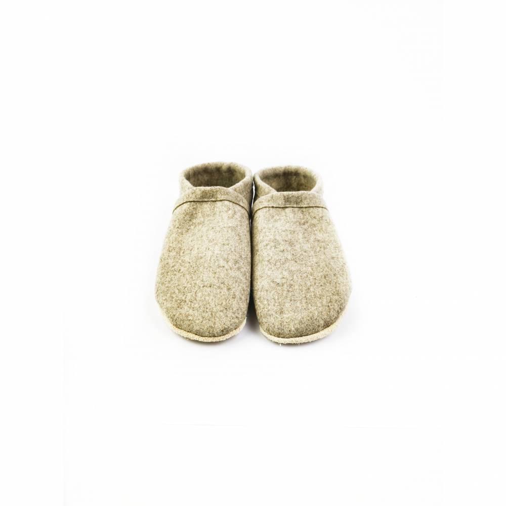 Hausschuhe aus 100% Wollfilz und Ledersohle  Bild 1