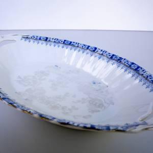 Vintage Porzellanschale, ovale Schüssel, China blau, weißes Porzellan blaues Dekor, altes Geschirr, mit Goldrand, Nutzun Bild 1