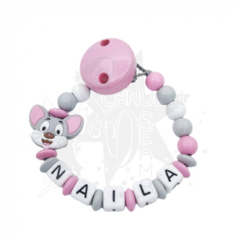 Schnullerkette mit Namen Silikon Maus grau/rosa/weiß Bild 1