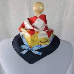 Halstuch, Klassisches Vintage Halstuch, Tuch aus Seide für Damen, Seidentuch, getragen, 1980 und 1990er Jahre, Midcentur Bild 1