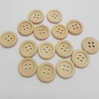 15 Holz-Knöpfe 15 mm rund natur Bild 3