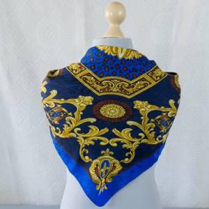 Halstuch italienisches Design, Klassisches Vintage Halstuch, Tuch aus Seide für Damen, Seidentuch, getragen, 1980 / 1990 Bild 1
