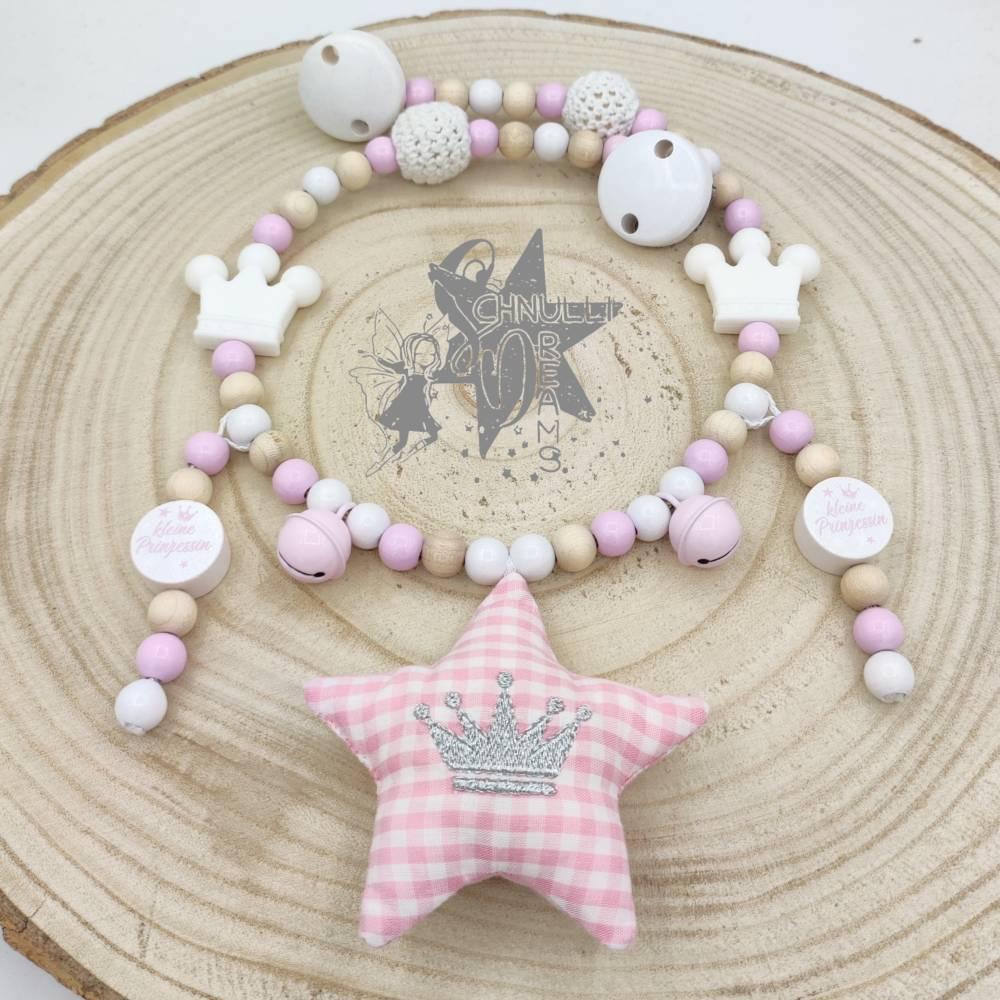 KinderwagenKette StoffStern mit gestickter Krone & kleine Prinzessin rosa/beige/weiß  Bild 1