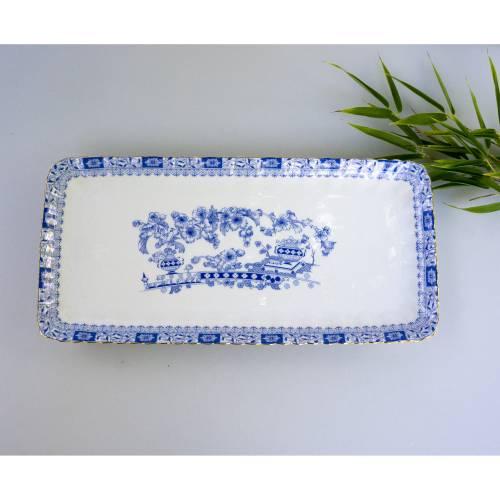 Vintage Stollenplatte, Servierplatte, China blau, weißes Porzellan Von Seltmann Weiden, neuwertig,  Vintage, Midcentury,