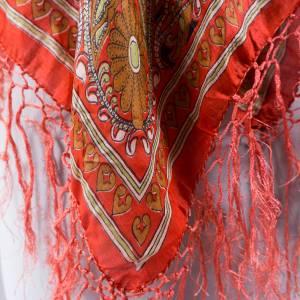 Halstuch, Klassisches Vintage Halstuch, Tuch aus Seide für Damen, Seidentuch, getragen, 1980 und 1990er Jahre, Midcentur Bild 5