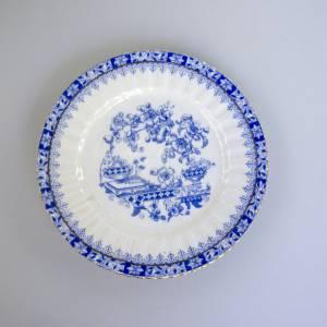 Vintage einzelner Kuchenteller, China blau, weißes Porzellan mit blauem Dekor, altes Geschirr, Dessertteller, mit Goldra Bild 1