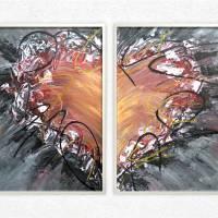 Zweiteiliges original abstraktes Gemälde Herz rot-schwarz | moderne Acrylmalerei Liebe | Wandbild Deko für Wohnzimmer |  Bild 1