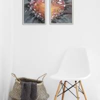 Zweiteiliges original abstraktes Gemälde Herz rot-schwarz | moderne Acrylmalerei Liebe | Wandbild Deko für Wohnzimmer |  Bild 3