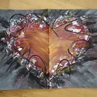 Zweiteiliges original abstraktes Gemälde Herz rot-schwarz | moderne Acrylmalerei Liebe | Wandbild Deko für Wohnzimmer |  Bild 7