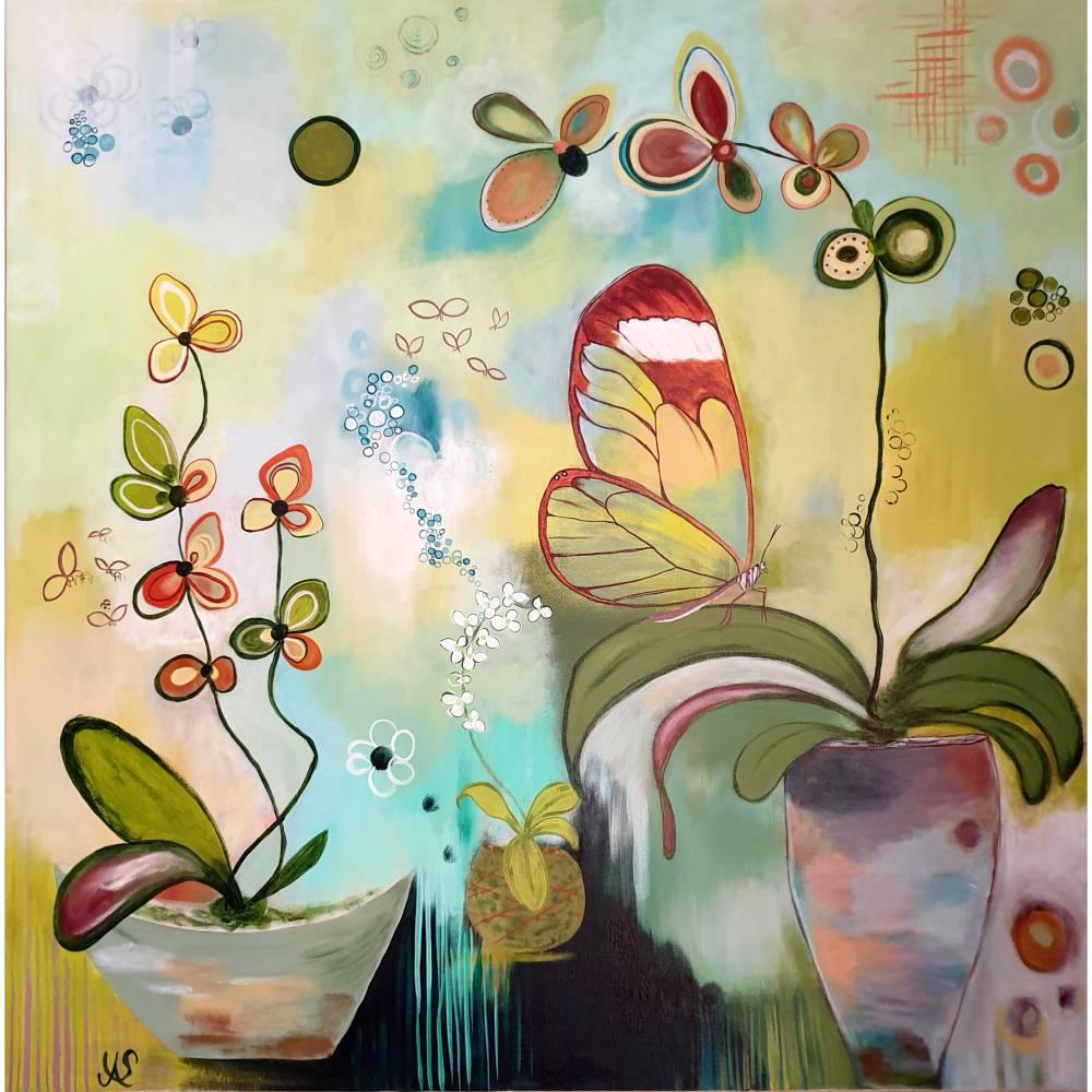 """Orchideenfenster"" 80 x 80 cm Acrylbild  Bild 1"