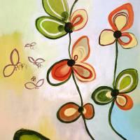 """Orchideenfenster"" 80 x 80 cm Acrylbild  Bild 3"