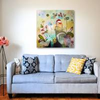 """Orchideenfenster"" 80 x 80 cm Acrylbild  Bild 6"