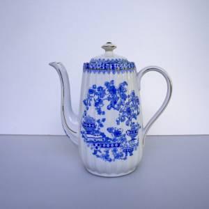 Vintage Kaffeekanne China blau, weißes Porzellan mit blauem Dekor, altes Geschirr, Vintage, Midcentury, Porzellankanne Bild 1