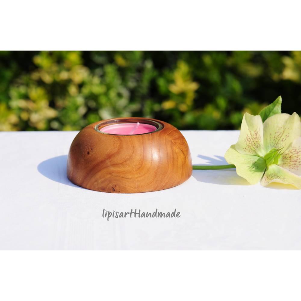 Edler Teelichthalter - Rüster (Ulme) Holz gedrechselt Halbkugel 1 Bild 1