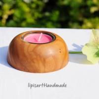 Edler Teelichthalter - Rüster (Ulme) Holz gedrechselt Halbkugel 1 Bild 2