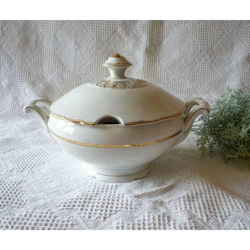 Große Suppenterrine aus den 1950er Jahren, mit Goldrand, Mid-Century, von Schirnding, Bavaria, feines Vintage Porzellan,