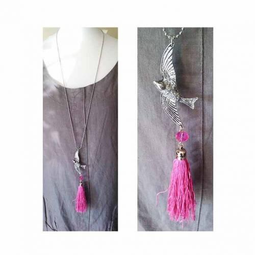 VOGELFREI/Bettelkette/lange Kette/taube/friedenstaube/schwalbe/vogel/tierschmuck/rosa/quastenkette/geschenk für sie