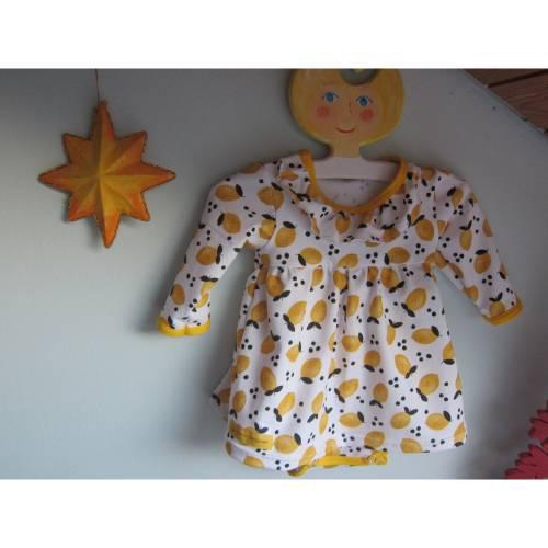 Kleinkind Bio Baumwolle Kleidchen Größe 56, Jersey Kleidchen, suße Zitronen Hain Jersey Kleid mit Body,