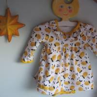Kleinkind Bio Baumwolle Kleidchen Größe 56, Jersey Kleidchen, suße Zitronen Hain Jersey Kleid mit Body,  Bild 1