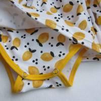 Kleinkind Bio Baumwolle Kleidchen Größe 56, Jersey Kleidchen, suße Zitronen Hain Jersey Kleid mit Body,  Bild 5