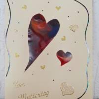 Muttertag – sehr schöne Karte mit schwebenden Herzen Bild 1
