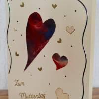 Muttertag – sehr schöne Karte mit schwebenden Herzen Bild 2