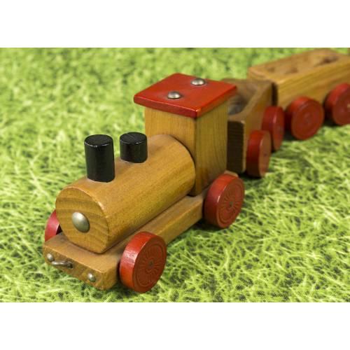 Kleine Eisenbahn, Deko-Teil, Vintage Holzeisenbahn, drei Anhängern, altes Holzspielzeug, zur Dekoration
