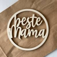 """Kleiner Türkranz aus Holz mit Schriftzug """"beste Mama"""" 15cm Bild 1"""