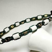 EM-Keramik Halsband in Dunkelgrün mit eingearbeiteten Goldfaden Bild 1