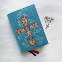 Bestickte Gotteslobhülle aus Filz *Kreuz mit verschlungenem Hintergrund *Gotteslob *Gesangsbuch *nach Wunsch angefertigt Bild 1