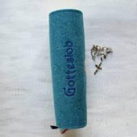 Bestickte Gotteslobhülle aus Filz *Kreuz mit verschlungenem Hintergrund *Gotteslob *Gesangsbuch *nach Wunsch angefertigt Bild 2