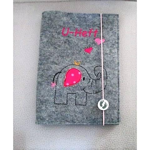 """personalisierte U-Heft Hülle """"Elefanten-Mädchen"""" aus Filz,  Bild 1"""