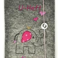 """personalisierte U-Heft Hülle """"Elefanten-Mädchen"""" aus Filz,  Bild 2"""