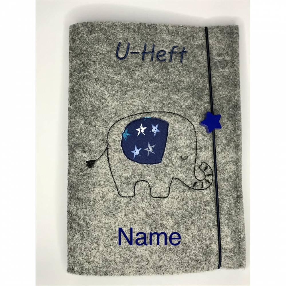 """personalisierte U-Heft Hülle """"kleiner Elefant"""" aus Filz,  Bild 1"""