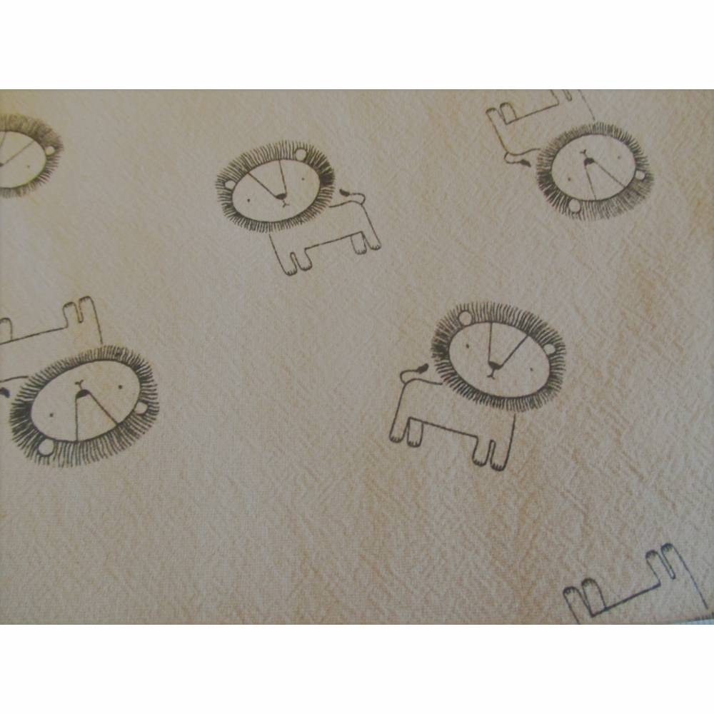 Rest: 2 m x 1,40 m Baumwolle, Baumwollstoff mit schwarzen Löwen auf  hellbraun ( 4,00€/Meter) Bild 1