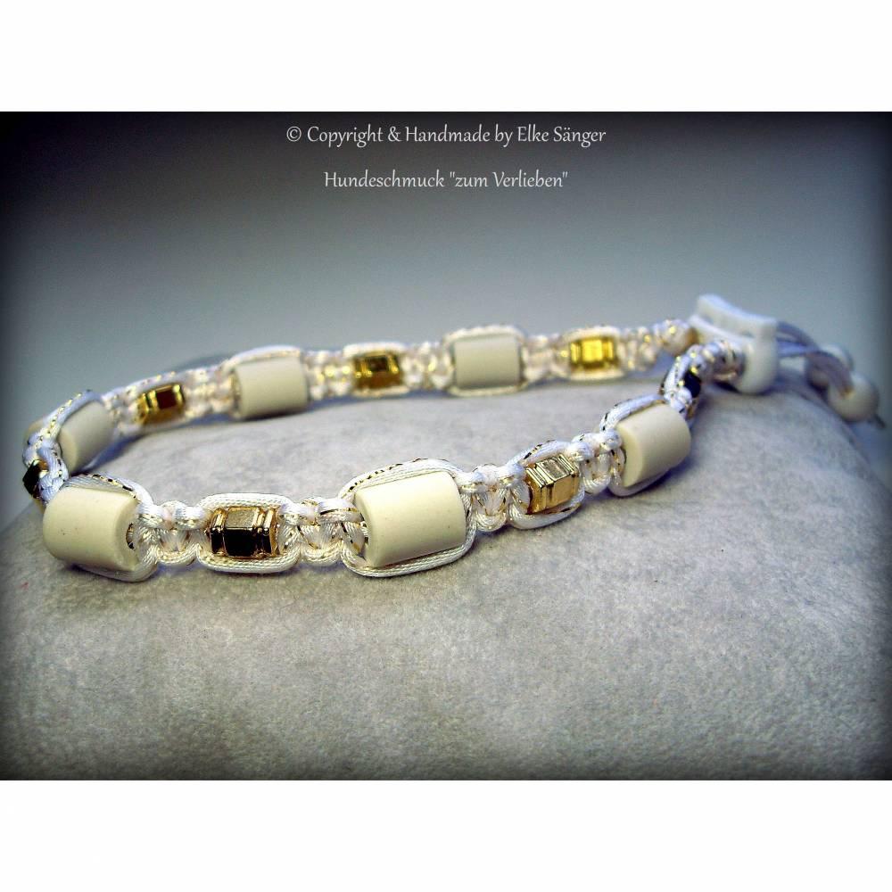 EM-Keramik Halsband in Weiß mit eingearbeiteten Goldfaden Bild 1